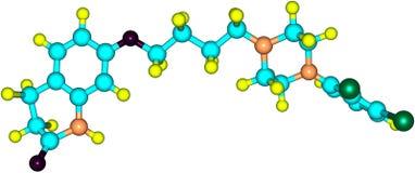 Молекула Aripiprazole изолированная на белизне иллюстрация вектора