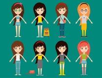 Модели девушек моды улицы носят иллюстрацию вектора взглядов одежд характеров женщины стиля модную стильную иллюстрация вектора
