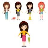 Модели девушек моды улицы носят иллюстрацию вектора взглядов одежд характеров женщины стиля модную стильную иллюстрация штока