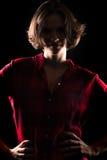 Модельная красная рубашка фланели сверхконтрастная Стоковое фото RF