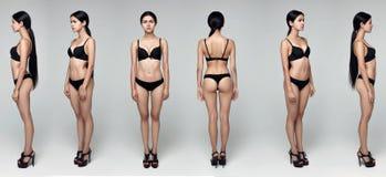 Модельные испытания снимая профессиональную модель представляя в студии стоковая фотография rf