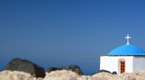 молельня Pyrgos Kallistis, Santorini, острова Кикладов Греция Стоковые Изображения