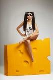 Модель брюнет девушки в солнечных очках Стоковые Изображения