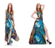 Модель в славном платье изолированном на белизне Стоковые Фотографии RF