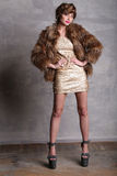 Модель девушки в платье и меховой шыбе золота на полной высоте Стоковые Фото