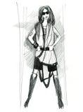 Модель девушки, демонстрируя ткань Стоковое фото RF