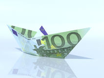 Модель корабля сделанная из банкноты евро Стоковое Фото