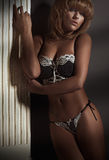 Модель красоты белокурая в женское бельё Стоковые Изображения