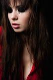 Модель красоты моды женская с закоптелыми глазами Стоковые Фото