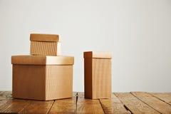 Модель-макеты пустых коричневых рифлёных картонных коробок Стоковые Изображения RF