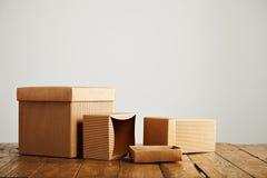 Модель-макеты пустых коричневых рифлёных картонных коробок Стоковое фото RF