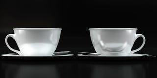 Модель-макеты чашки на черной предпосылке Стоковое Изображение RF