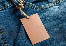 Модель-макет коричневого цвета пробела ярлыка ткани Стоковая Фотография RF