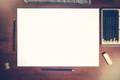 Модель-макет чертежа карандаша эскиза Стоковое Фото