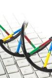 Модель молекулы дна на клавиатуре компьютера Стоковое фото RF