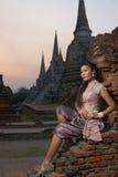 Модель на виске Ayutthaya Стоковые Фото