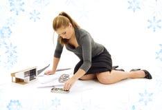 модель дома девушки архитектора Стоковые Фото