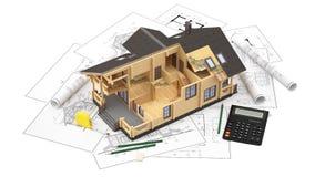 Модель дома журнала на чертежах предпосылки с чертежными инструментами Стоковые Фотографии RF