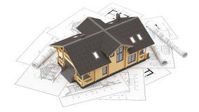 Модель дома журнала на чертежах предпосылки Стоковая Фотография