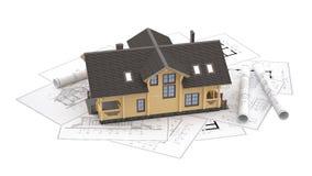 Модель дома журнала на чертежах предпосылки Стоковые Фотографии RF