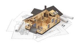 Модель дома журнала на чертежах предпосылки Стоковое Изображение RF