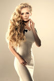 Модель с длинными волнами блондинкы волос завивает парикмахерскую стиля причёсок Стоковое Изображение