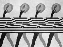 Модель с striped предпосылкой Стоковая Фотография