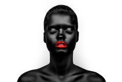 модель Черно-кожи женская с красные губы Стоковое фото RF