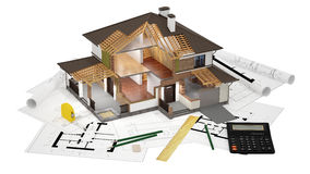 модель 3d отрезанного дома Стоковое Изображение