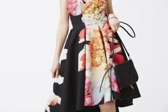 Модная женщина в платье Стоковое Изображение RF