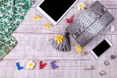 Модная красивая сумка питона snakeskin, взгляд сверху, деревянная предпосылка Комплект роскоши, серая сумка, косметики, smartphon Стоковые Изображения
