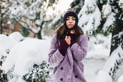 Модная портрета стильная и красивая девушка в снежной погоде Стоковые Изображения