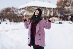 Модная портрета стильная и красивая девушка в снежной погоде стоковое фото