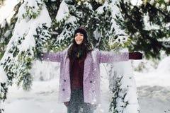 Модная портрета стильная и красивая девушка в снежной погоде стоковое изображение rf