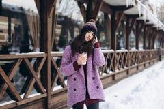 Модная портрета стильная и красивая девушка в снежной погоде стоковое фото rf