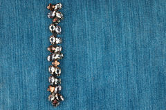Модная предпосылка, джинсовая ткань в стразах Стоковые Фото