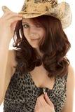 Молния владением конца шляпы платья молнии волос женщины красная стоковое фото