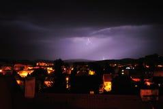 Молния в городке Стоковое Фото