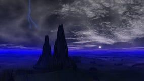 Молния над башнями чужеземцев иллюстрация вектора