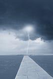 Молния над морем Стоковые Фото