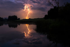 Молния на ноче Стоковые Изображения RF