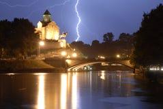 Молния над Tblisi Стоковые Фото