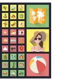 Модные значки стиля плоские Самое лучшее лето Стоковые Фотографии RF
