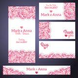 Модные карточки приглашения свадьбы иллюстрация вектора
