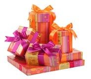 Модные коробки с подарками на белизне Стоковая Фотография