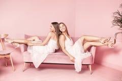 Модные сестры близнецов представляя на розовой предпосылке Стоковое Фото