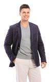 Модный представлять парня изолированный на белой предпосылке Стоковое Фото