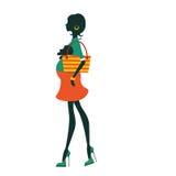 Модный силуэт мам-к-держит немногого иллюстрация штока