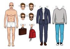 Модный современный комплект одежд и accessorizes для людей Иллюстрация вектора