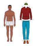 Модный темный человек кожи с одеждами Иллюстрация штока